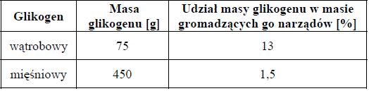 Zawartość i rola glikogenu wątrobowego i mięśniowego.