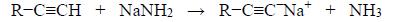 Reakcja alkinów terminalnych z amidkiem sodu.