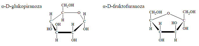 Wzory taflowe cukrów: glukozy i fruktozy.