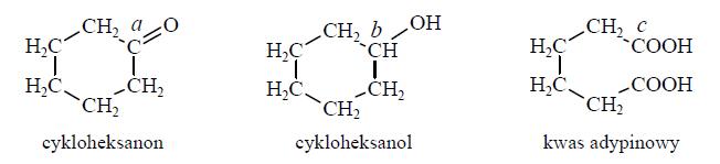 Cykloheksanon, cykloheksanol, kwas adypinowy.