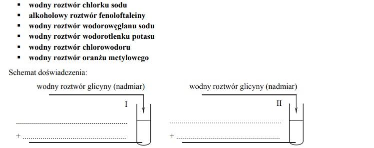 Właściwości amfoteryczne glicyny.