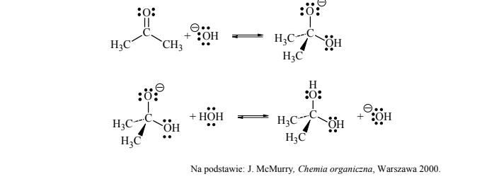 Aldehydy i ketony ulegają reakcji z wodą, w wyniku czego tworzą diole.