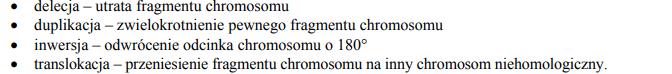 Rodzaje mutacji chromosomowych.