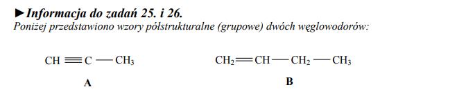 Wzory półstrukturalne dwóch węglowodorów.
