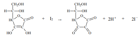 Próbkę X pewnego preparatu, którego głównym składnikiem jest witamina C, rozpuszczono w wodzie, w wyniku czego otrzymano 100,0 cm3roztworu.
