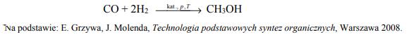 Mieszanina tlenku węgla(II) i wodoru to gaz syntezowy, który stosuje się do otrzymywania wielu związków organicznych.