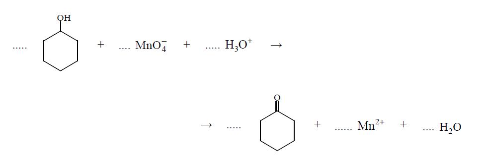 Reakcja cykloheksanolu z manganianem(VII) potasu