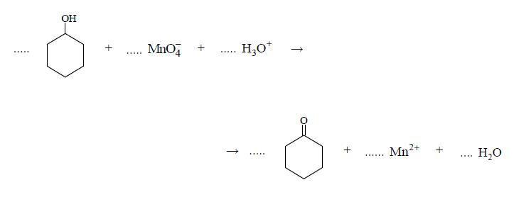 Redukcja manganianu poprzez cykloheksanol